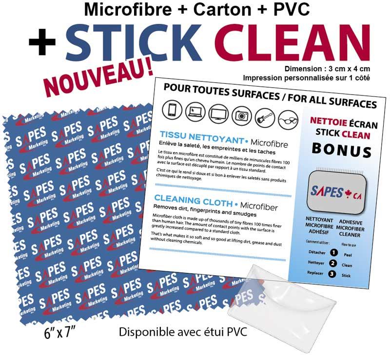 microfibre, carton et 'Stick Clean'