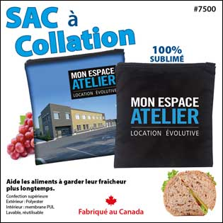 Sac à collation sublimé réutilisable