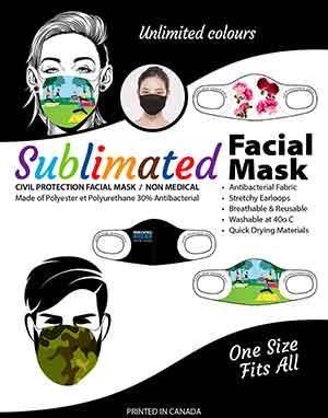 masque protecteur personnel sublimé, imprimé au Québec
