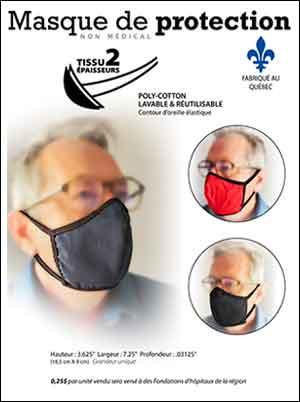 masque protecteur personnel fait au Québec