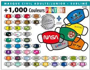masque protecteur personnel fait au Québec plus de 1000 couleurs Pantone