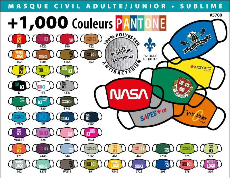 Masque protecteur personnel fait au Québec, 1000 couleurs Pantone